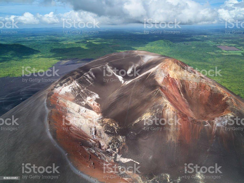 Crater of cerro negro volcano stock photo