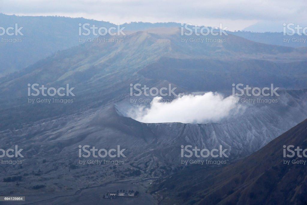 Crater of Mount Bromo volcano stock photo