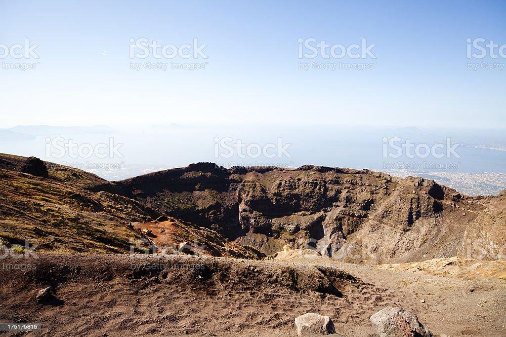 Crater of Mount Vesuvio stock photo