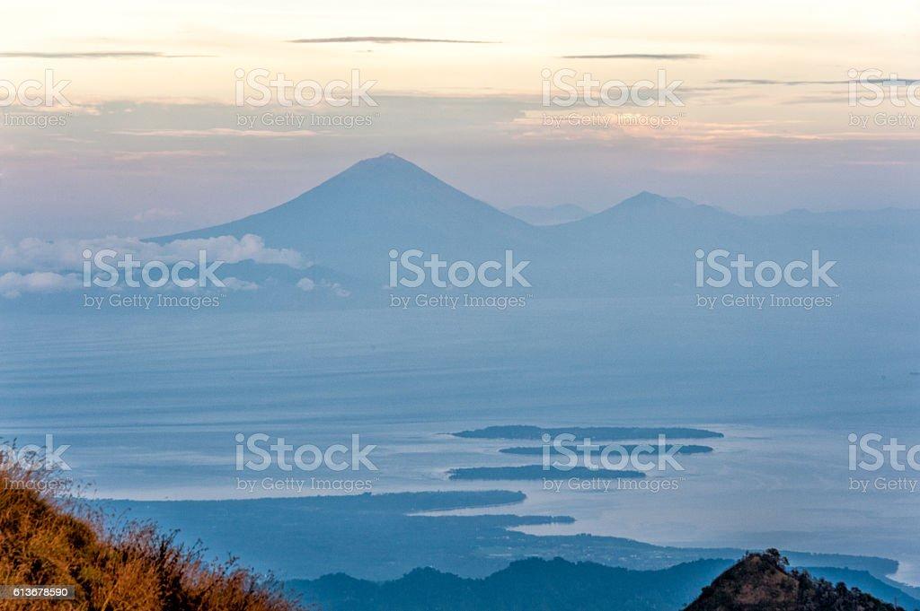 Crater of Mt. Rinjani Volcano stock photo