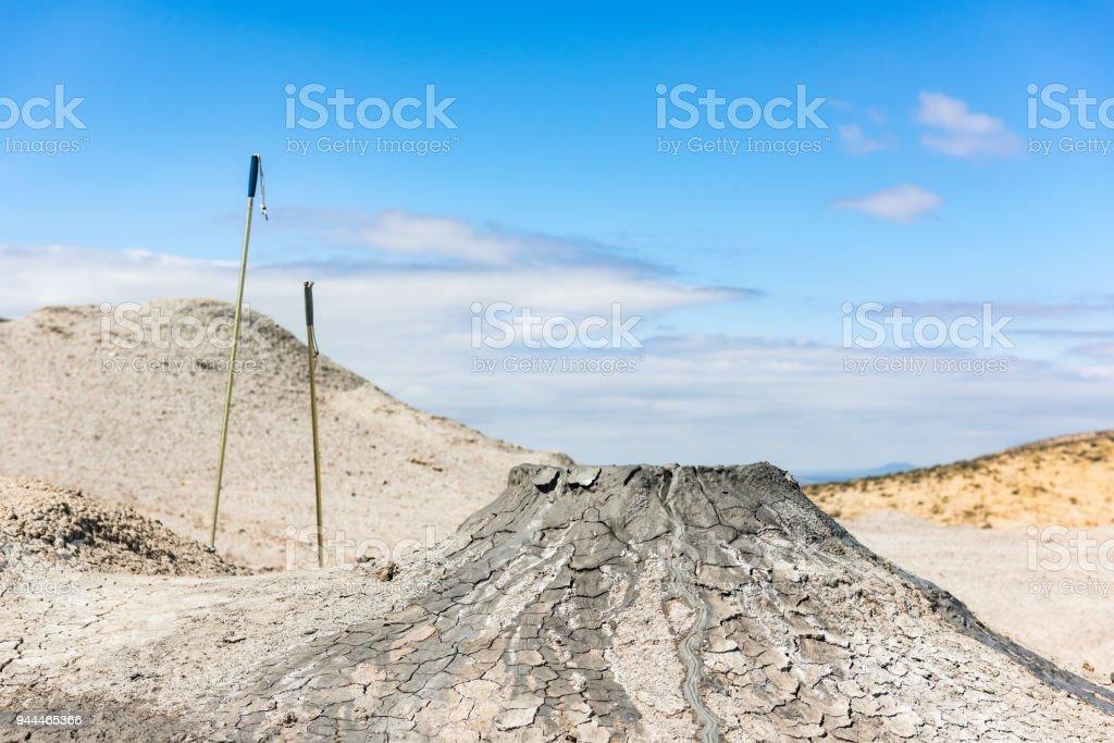Crater of mud volcano stock photo