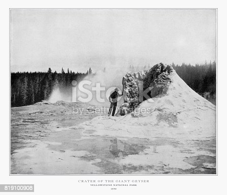 Antique American Photograph: Crater of the Giant Geyser, Yellowstone National Park, Colorado, United States, 1893: Original edition from my own archives. Copyright has expired on this artwork. Digitally restored.