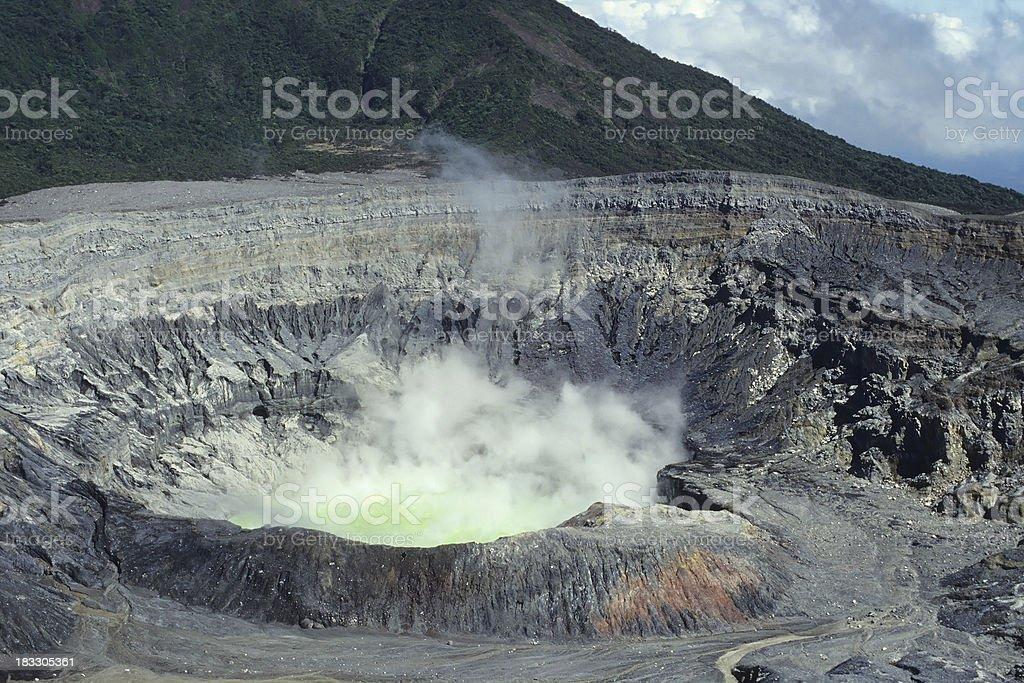 Crater of the Poas Volcano, Costa Rica stock photo