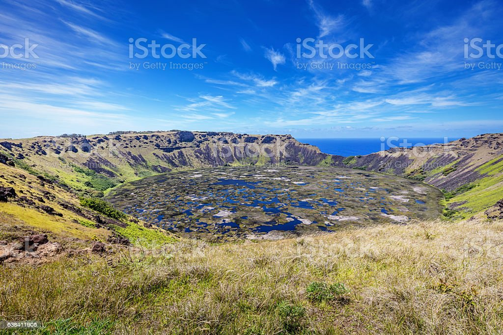Crater Rano Kau Volcano Easter Island Chile stock photo