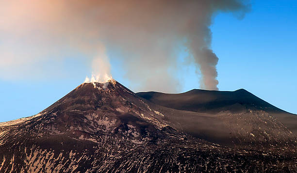craters sommital Etna stock photo