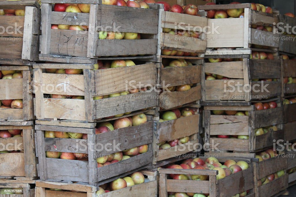 Crates of apples from the farm await sale at market. stock photo