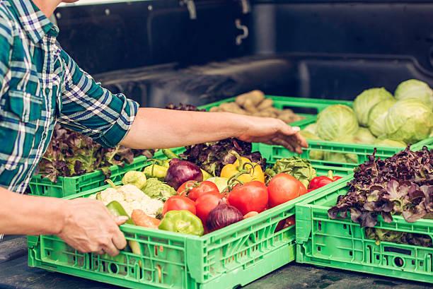 casse di ortaggi freschi - mercato luogo per il commercio foto e immagini stock