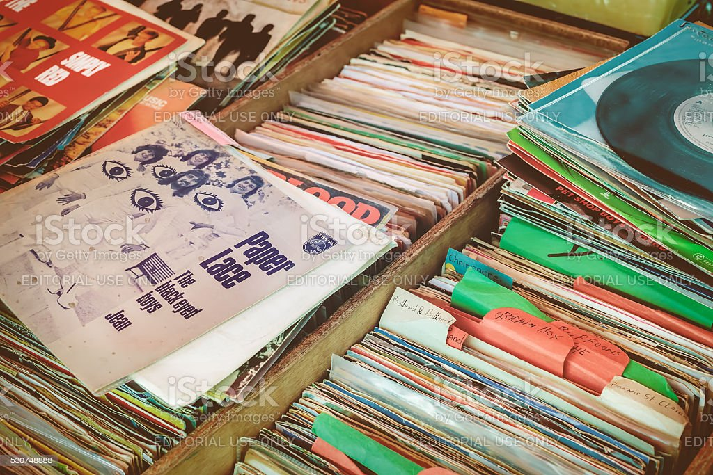 Crates with vinyl turntable records on a flee market stock photo