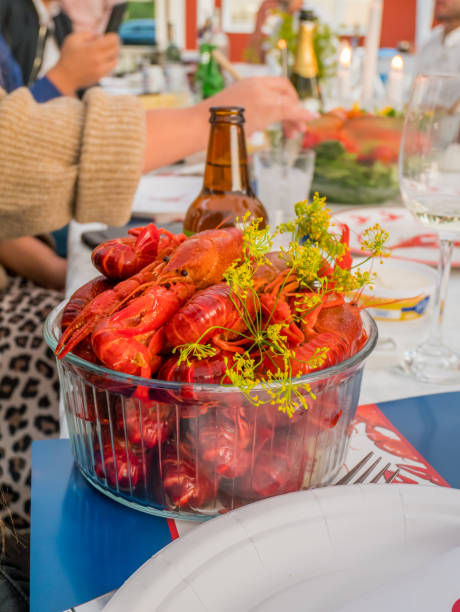 Craw fish party is a Swedish tradion. stock photo