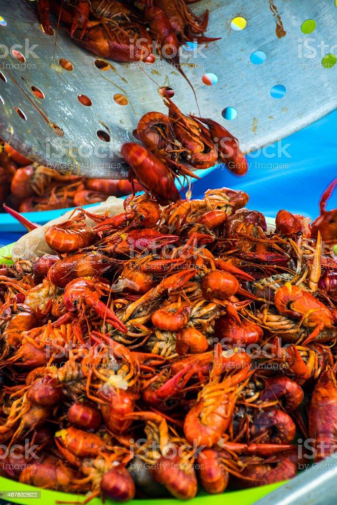 Crawfish Bowl Louisiana Style Outdoor Cajun Party stock photo