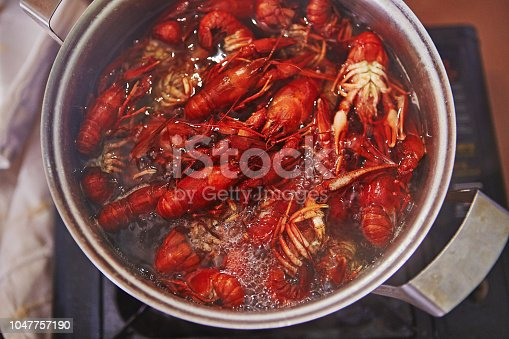 Crawfish cooking boiling in pot with spices