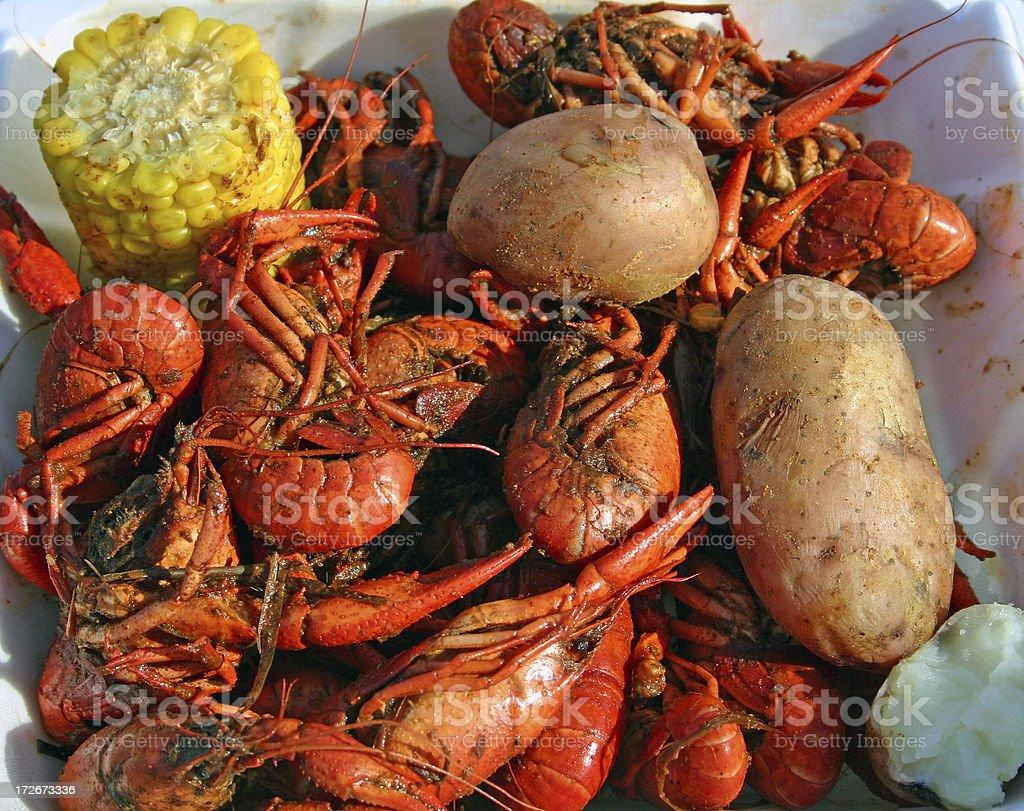 Crawfish, Corn and Potatoes royalty-free stock photo