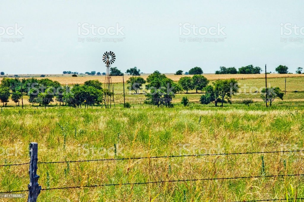 Crawford Texas Countryside with windmill stock photo