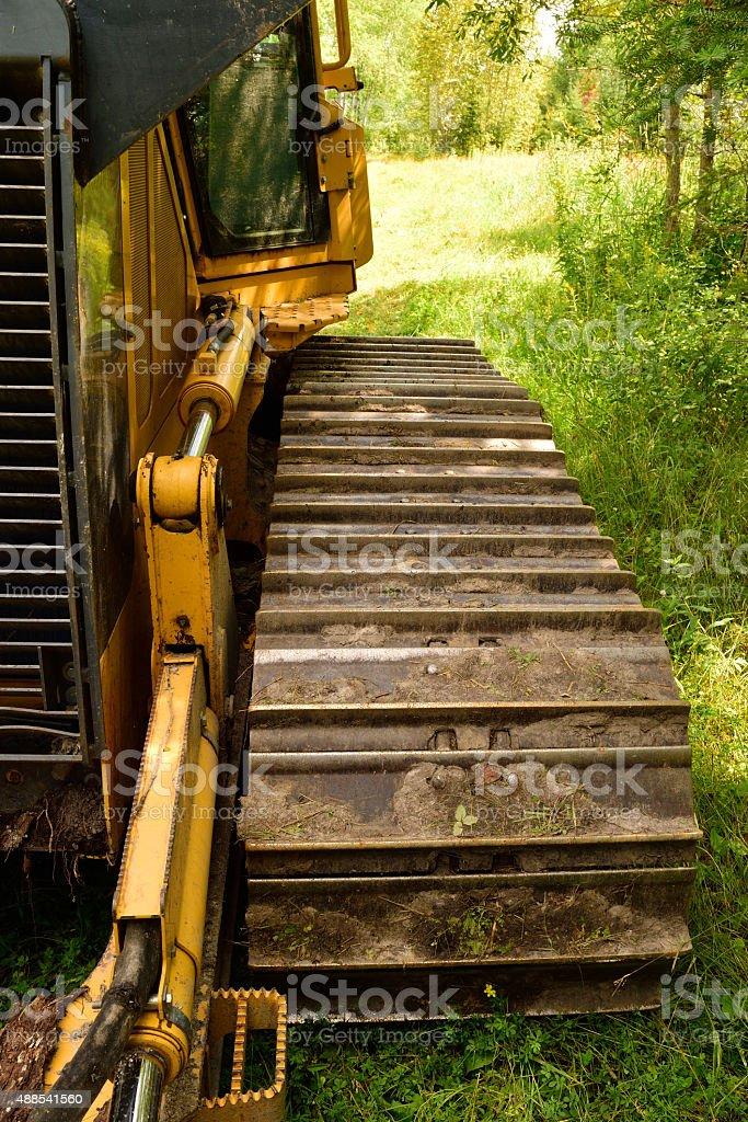 Crawler Dozer Track Pad and Cab Detail stock photo