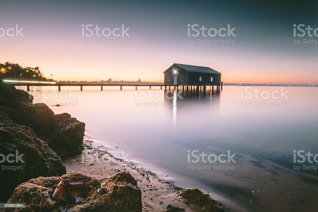 Crawley Boatshed Sunrise stock photo