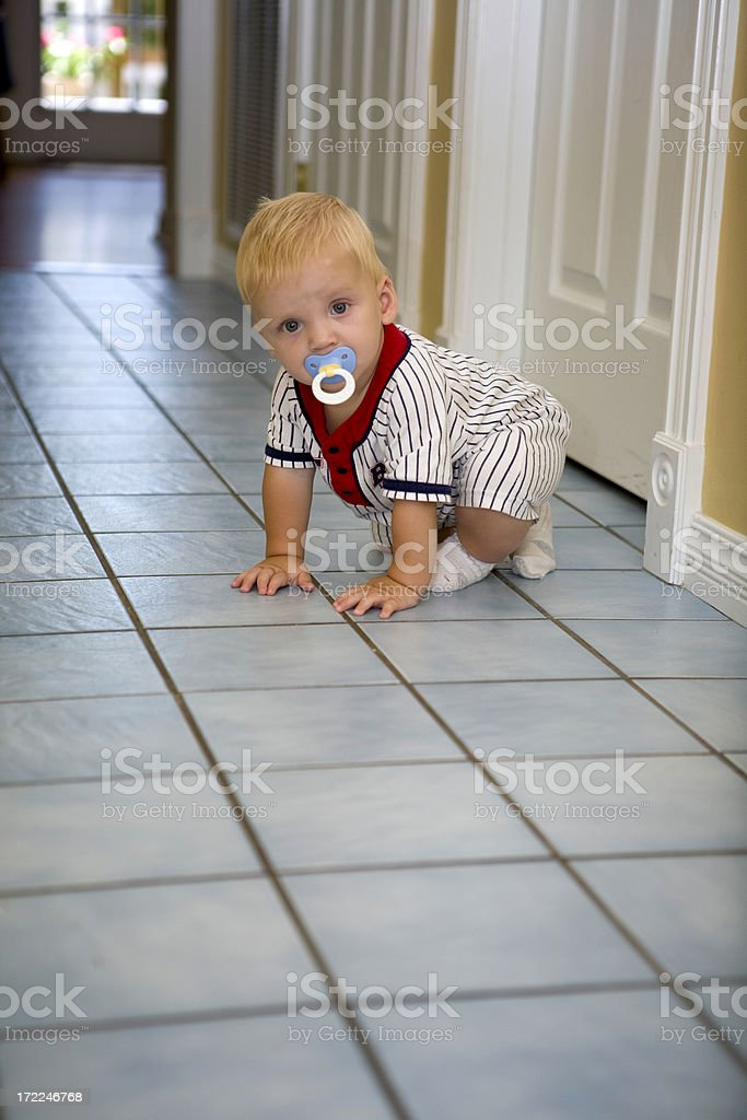 crawling baby in the hall royalty-free stock photo