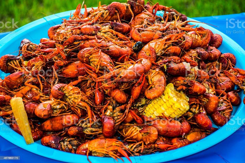 Crayfish Corn Potatoes Shell Fish Piled High Cajun Crawfish Bowl stock photo