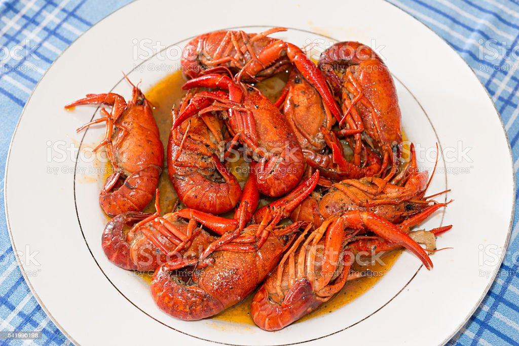 Crayfish with white wine stock photo