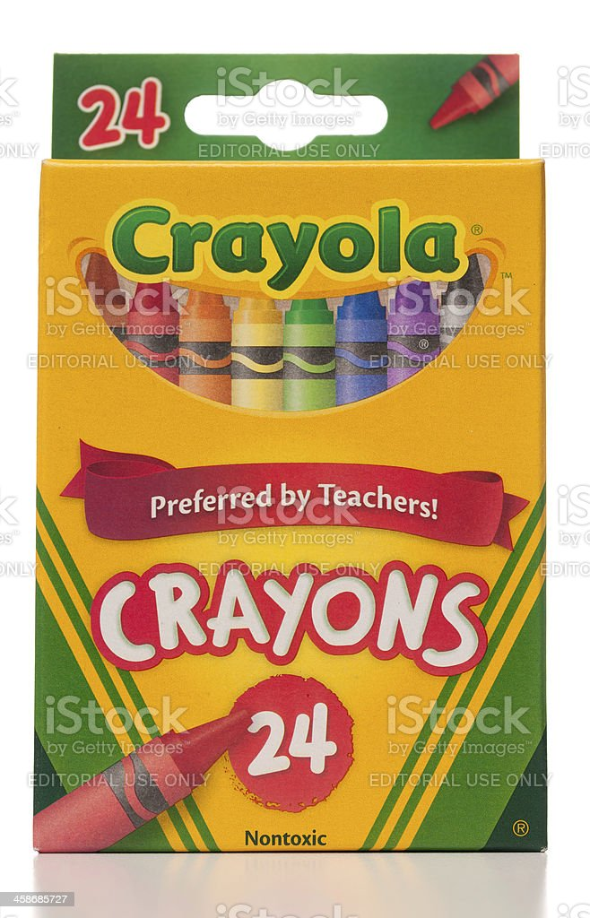 Crayola 24 crayons box stock photo