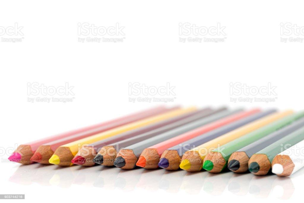 crayon adn pencils in all colors stock photo