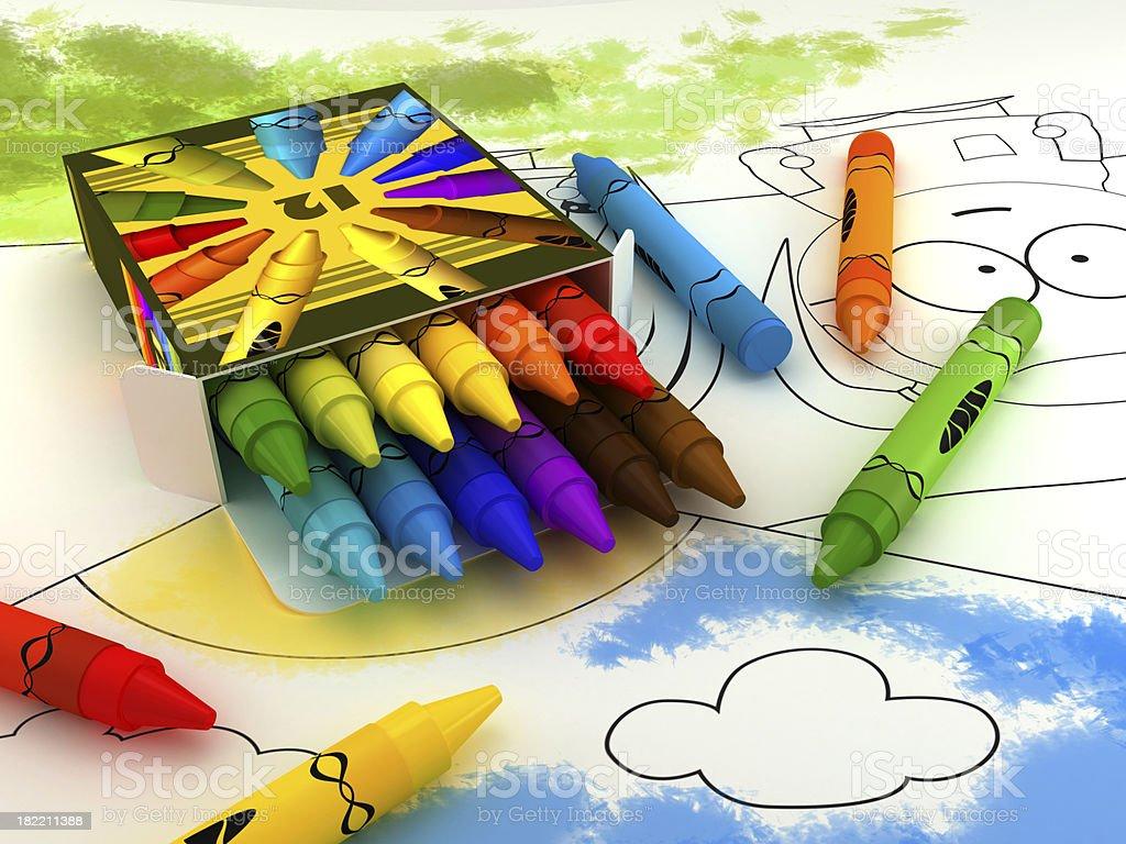 Crayon box stock photo