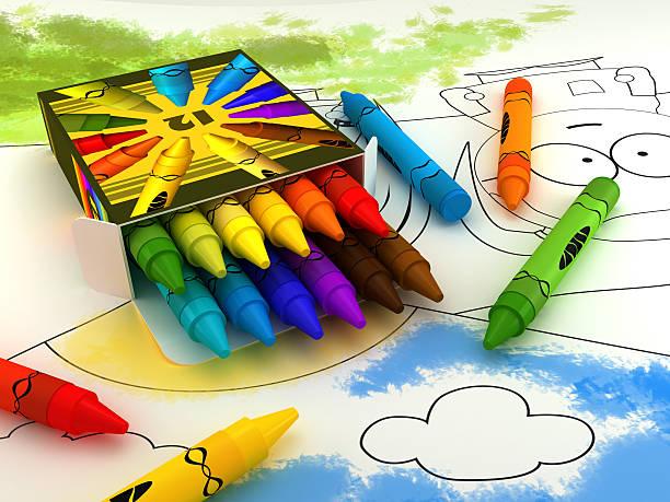crayon box - colouring book stock photos and pictures