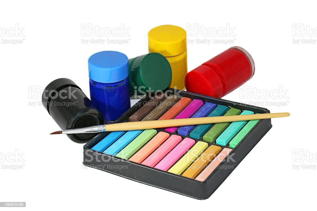 Crayon chalk and water color stock photo