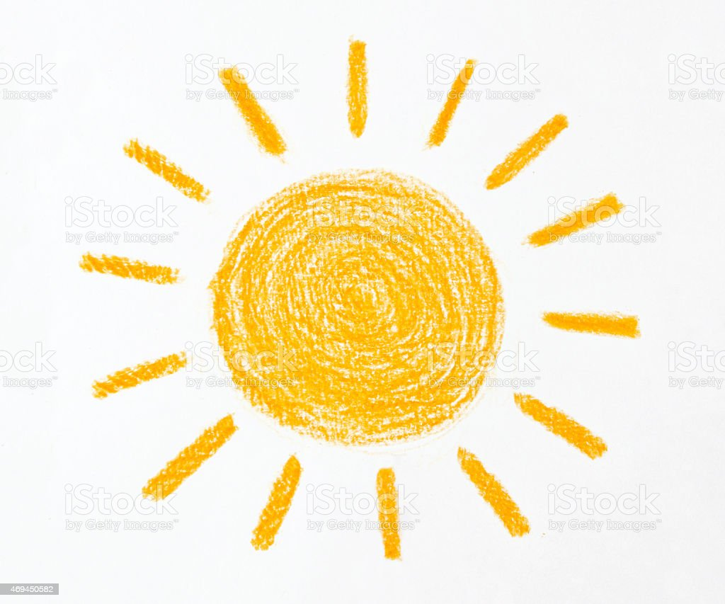 Crayon Drawing of the Sun on White Background stock photo
