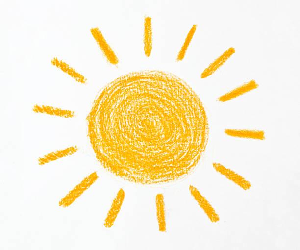 Desenho em Lápis Cera do sol no fundo branco - foto de acervo