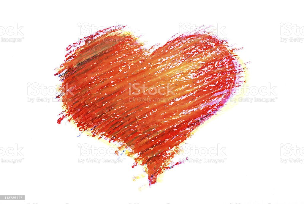Crayon heart draw royalty-free stock photo