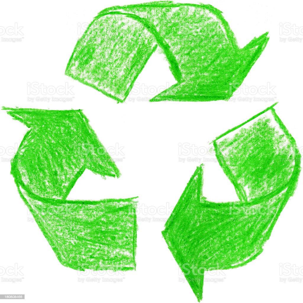 Crayon recycle symbol stock photo