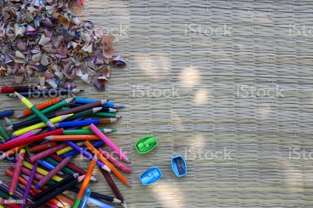 Crayon with sharpener and pencil stump stock photo