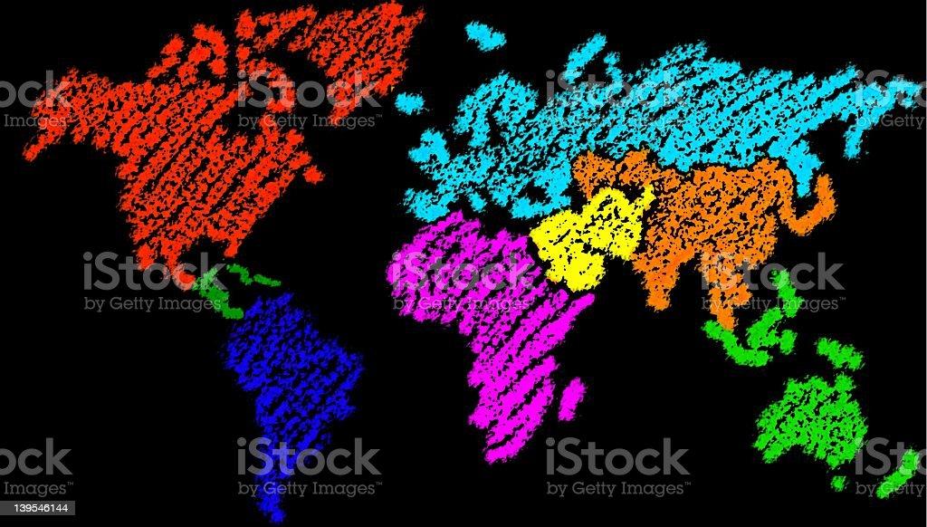 Crayon World Map – black royalty-free stock photo