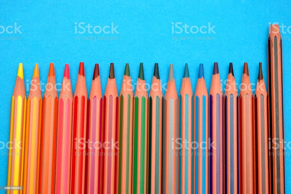 crayons and one broken stock photo