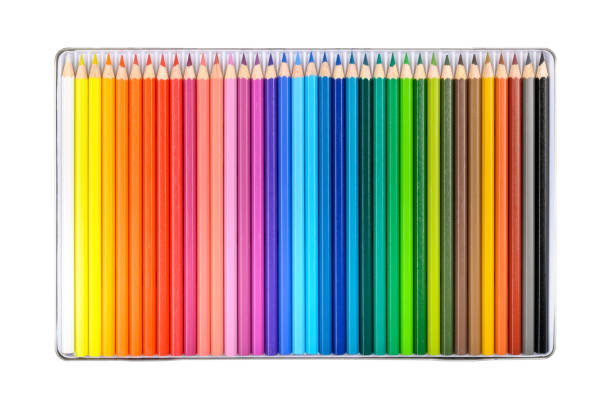 crayons in a box - coloured pencil stock photos and pictures