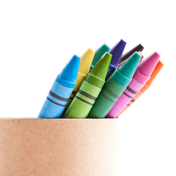 Crayons in box stock photo