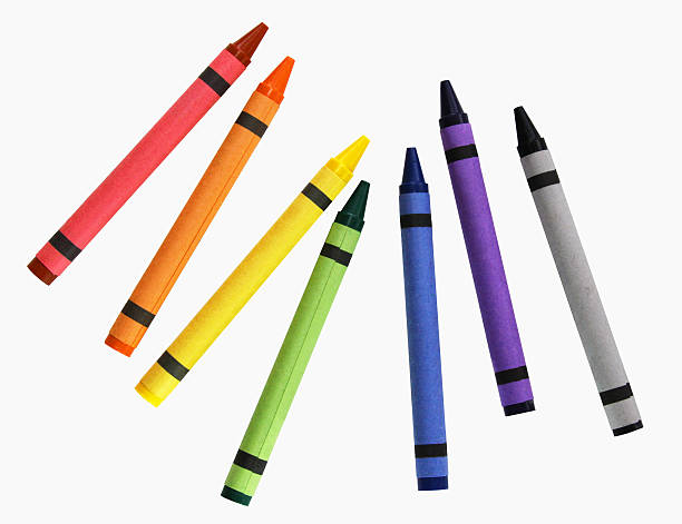 Crayons Isolated on White - Bright Colorful School Supplies  crayon stock pictures, royalty-free photos & images