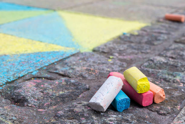 Crayons on the floor Crayons on the floor chalk drawing stock pictures, royalty-free photos & images