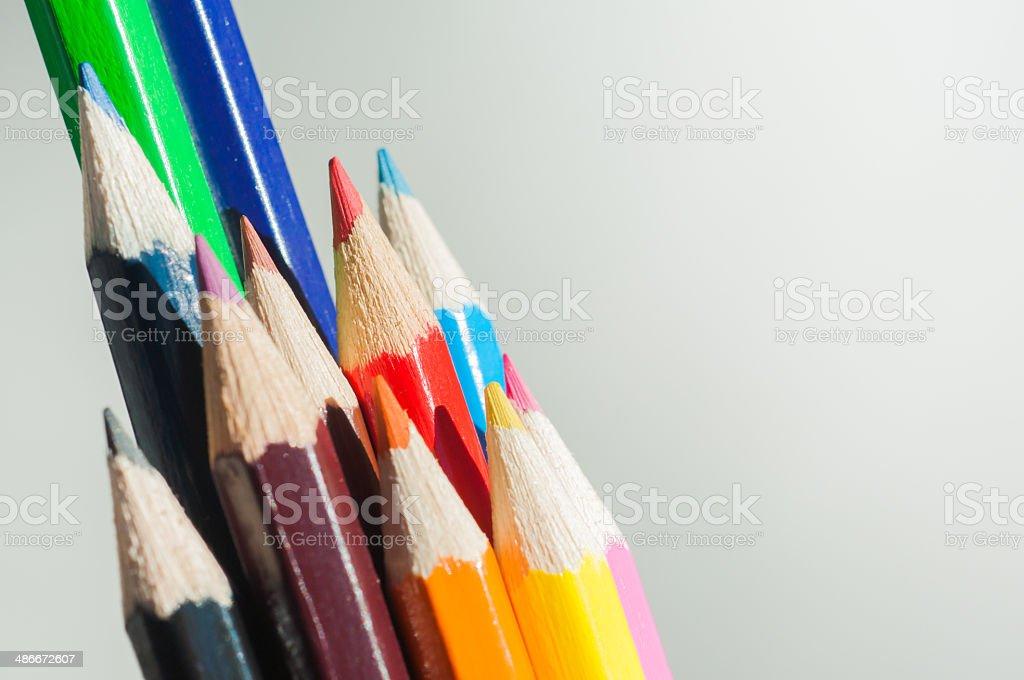 Crayons on white background. stock photo
