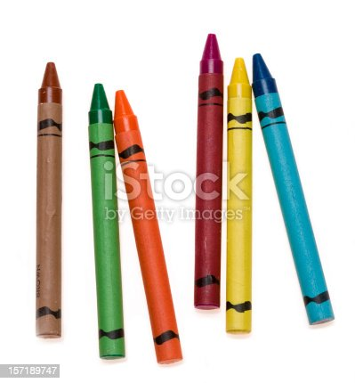 Colorful crayons on white background. In aRGB color for beautiful prints.