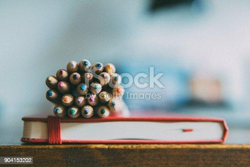 Crayons, pencils, colored, agenda, schedule, draw, creativity, Close-up