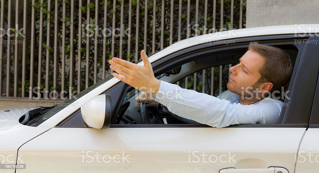 Crazy and angry driver royalty-free stock photo