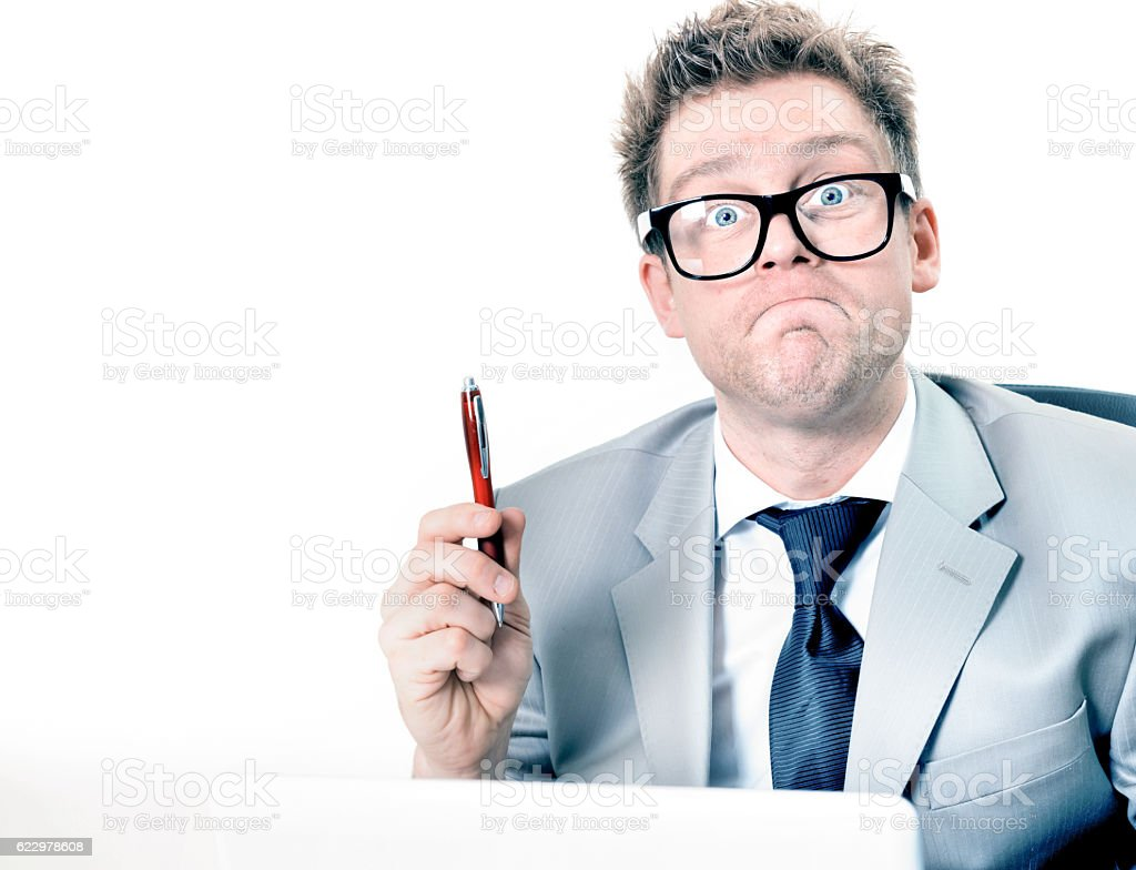 crazy and funny manager stressed at work stock photo