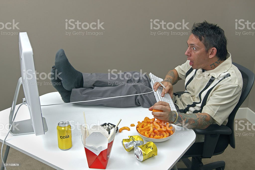 Crazy and stressed man in front of the computer royalty-free stock photo
