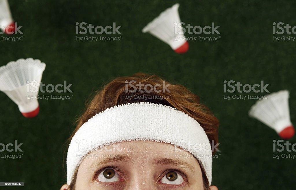 Mujer loca bádminton - foto de stock
