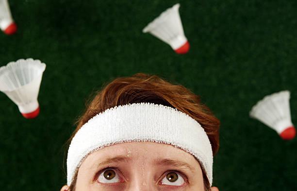 Crazy Badminton Woman stock photo