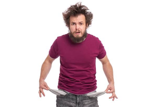 crazy bearded man emotions and signs - poverty stock pictures, royalty-free photos & images