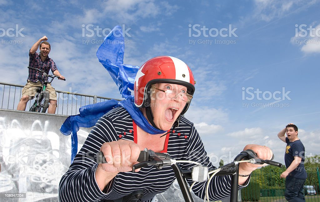 crazy bmx gran stock photo