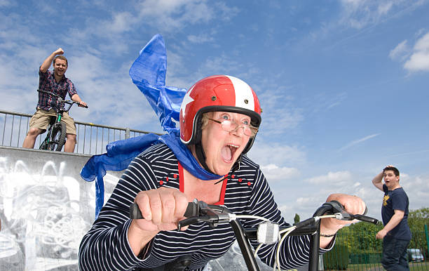 crazy bmx gran - daredevil stock pictures, royalty-free photos & images