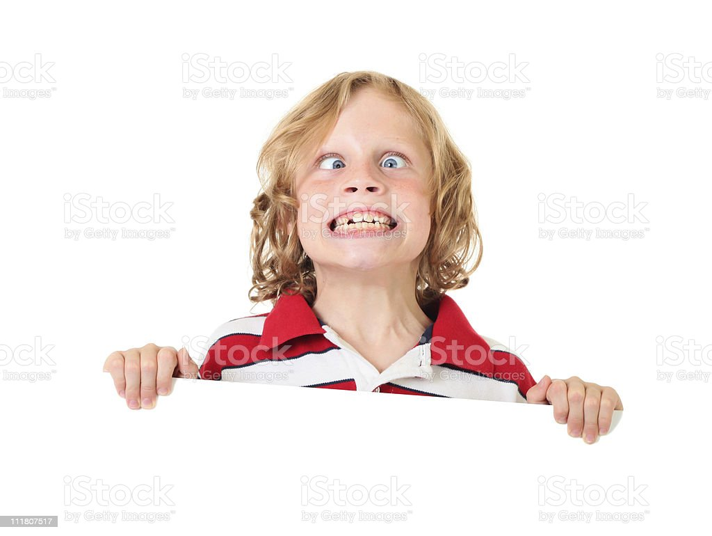 crazy boy holding sign royalty-free stock photo